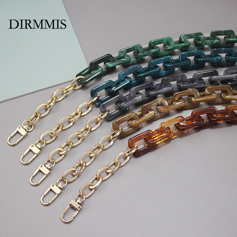 New Fashion Woman Handbag Accessory Chain Detachable Replacement Leopard Amber Green Color Strap Women DIY Clutch Resin Chain