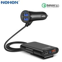 Nohon qc 3.0 carregador de carro dianteiro e traseiro para iphone 11 pro max carga do telefone móvel no carro para xiaomi samsung com cabo extensão