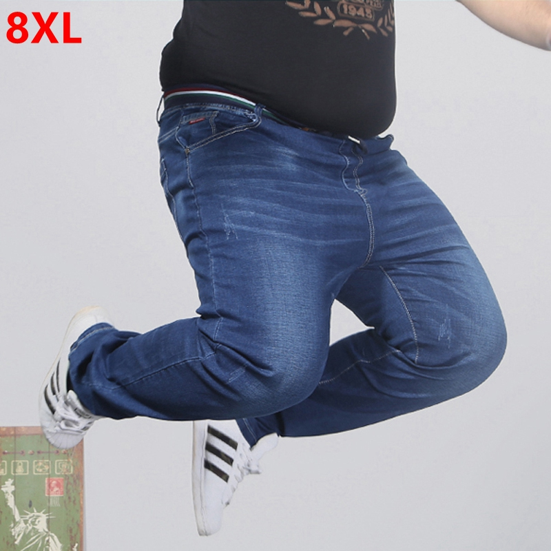 Elasticated waist oversized stretch   jeans   male plus size loose big man trousers 2x-8x big yards