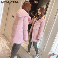 YAMDI Autumn Winter Outwear Women 2019 Casual Thick Hooded Coat Female Solid White Black Pink Jacket Padded Warm Down Wadded New
