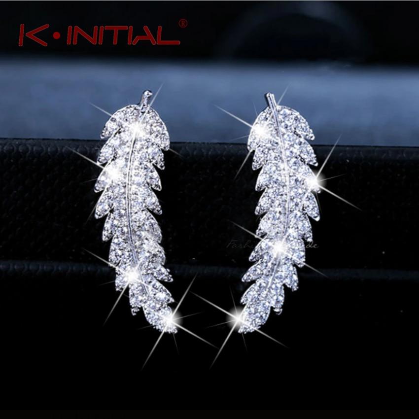 Kinitial Fashion Olive Leaf Stud Earrings For Women Delicate Rhinestone Feather & Leaf Ear Rings Crystal Statements Bijoux