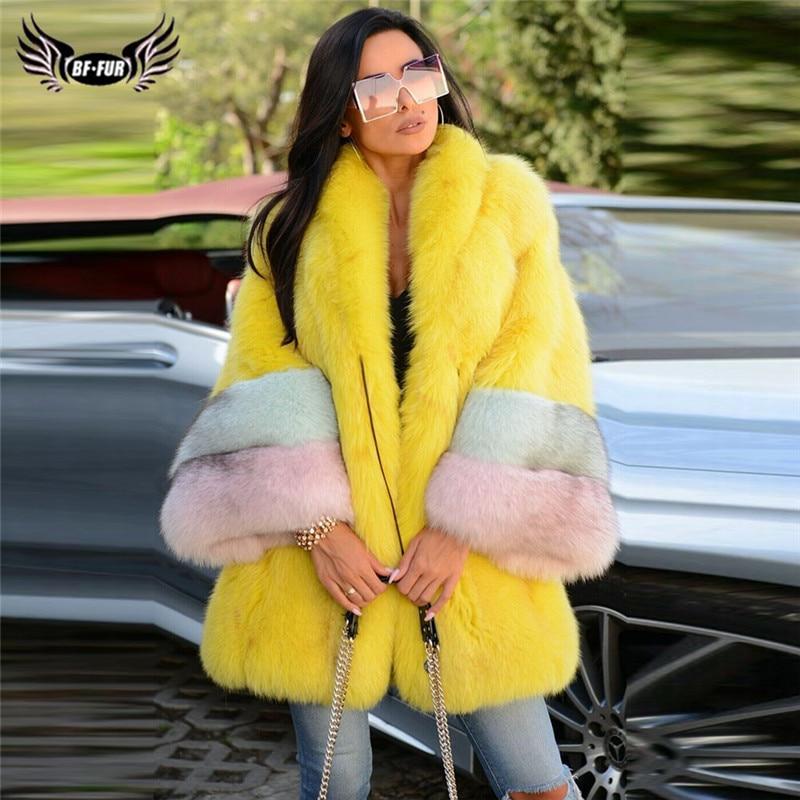 2019 Winter Fashion Yellow Fox Fur Coat For Women With Big Collar Full Pelt Genuine Fox Fur Jacket Long Natural Fur Coats Luxury