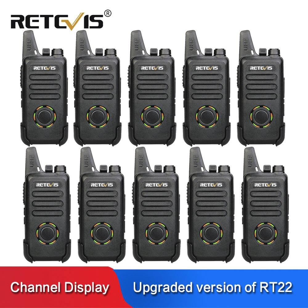 10pcs RETEVIS RT22S Mini Walkie Talkie FRS VOX Hidden Display Two Way Radio Communicator USB Charging Walkie-talkie Transceiver