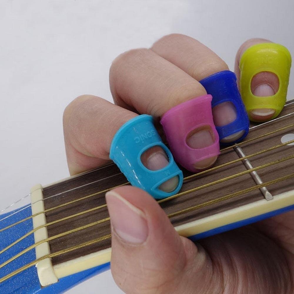 4Pcs/Set Silicone Finger Guards Guitar Fingertip Protectors For Ukulele Guitar S M L Transparent Blue Color