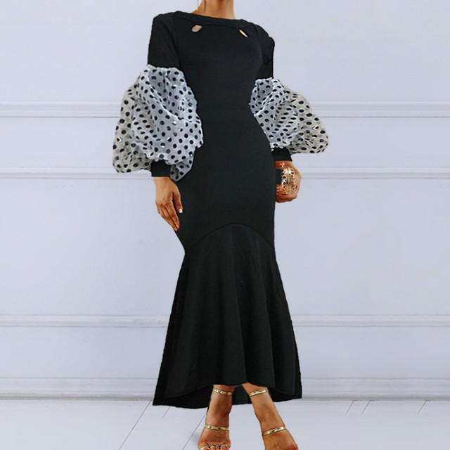Black Maxi Party Dress Long Puff Sleeves Polka Dot Hollow Out Sexy Event Occasion Women Elegant Celebrate Evening Night Robes 1