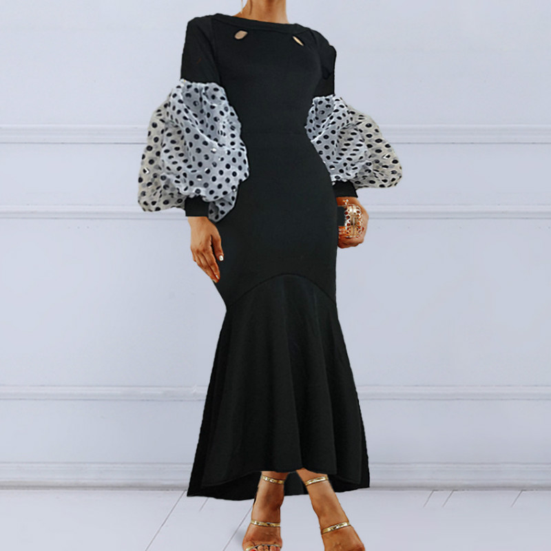 Black Maxi Party Dress Long Puff Sleeves Polka Dot Hollow Out Sexy Event Occasion Women Elegant Celebrate Evening Night Robes