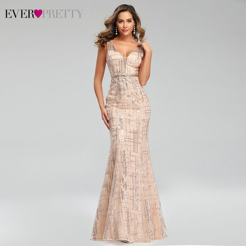Sparkle Evening Dresses Long Ever Pretty Deep V-Neck Sleeveless Sequined Tulle Sexy Mermaid Party Gowns Vestido De Festa 2020