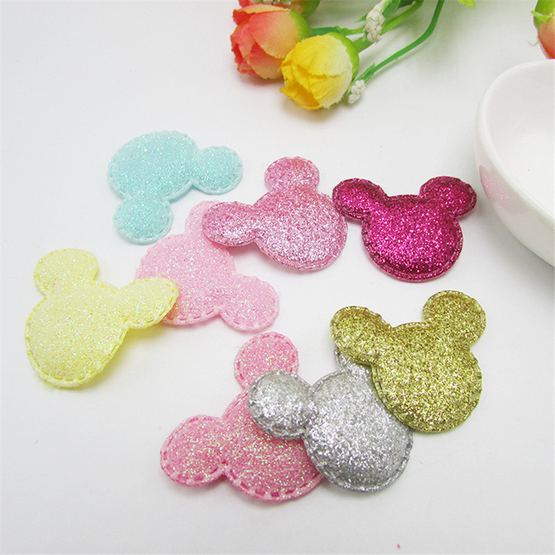 40Pcs Glitter Colorful Sequins Padded Patches Cartoon Mickey Applique For DIY Baby Hat Hairpin Hair Bow Ornament Accessories G26