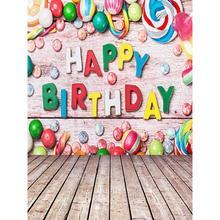 Fondo de tela de Arte Fotográfico 0,9x1,5 m fondo de foto de feliz cumpleaños estudio de fotografía Prop chico foto familiar decoración caliente