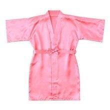 Однотонная Одежда для маленьких девочек; шелковое атласное кимоно; наряд; банный халат; одежда для сна; Повседневная Детская летняя одежда для сна