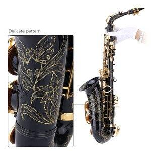 Image 3 - Ammoon Hoogwaardige Messing Gelakt Goud E Altsaxofoon E Platte Sax Gesneden Patroon Houtblazers Instrument Met Draagtas