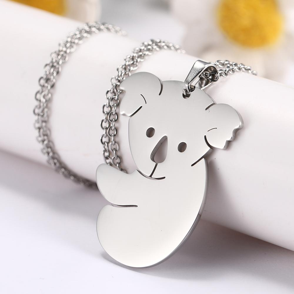 LIKGREAT Protect <font><b>Koala</b></font> Necklace Australian <font><b>Koala</b></font> <font><b>Bear</b></font> Woodland Animal Necklaces Stainless Steel Pendant <font><b>Jewelry</b></font> Gifts for Friend image
