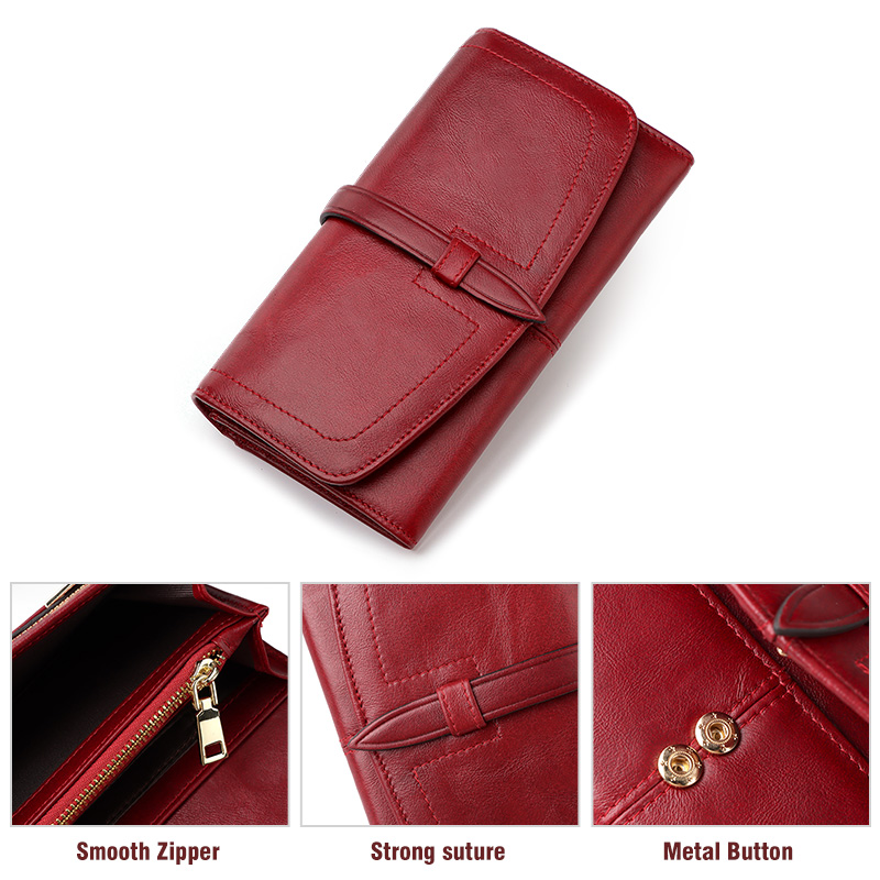 Fashion Long Women's Wallet Many Departments Female Clutch Money Bag Leather Luxury Brand Coin Pocket Purse Lady Card Holder