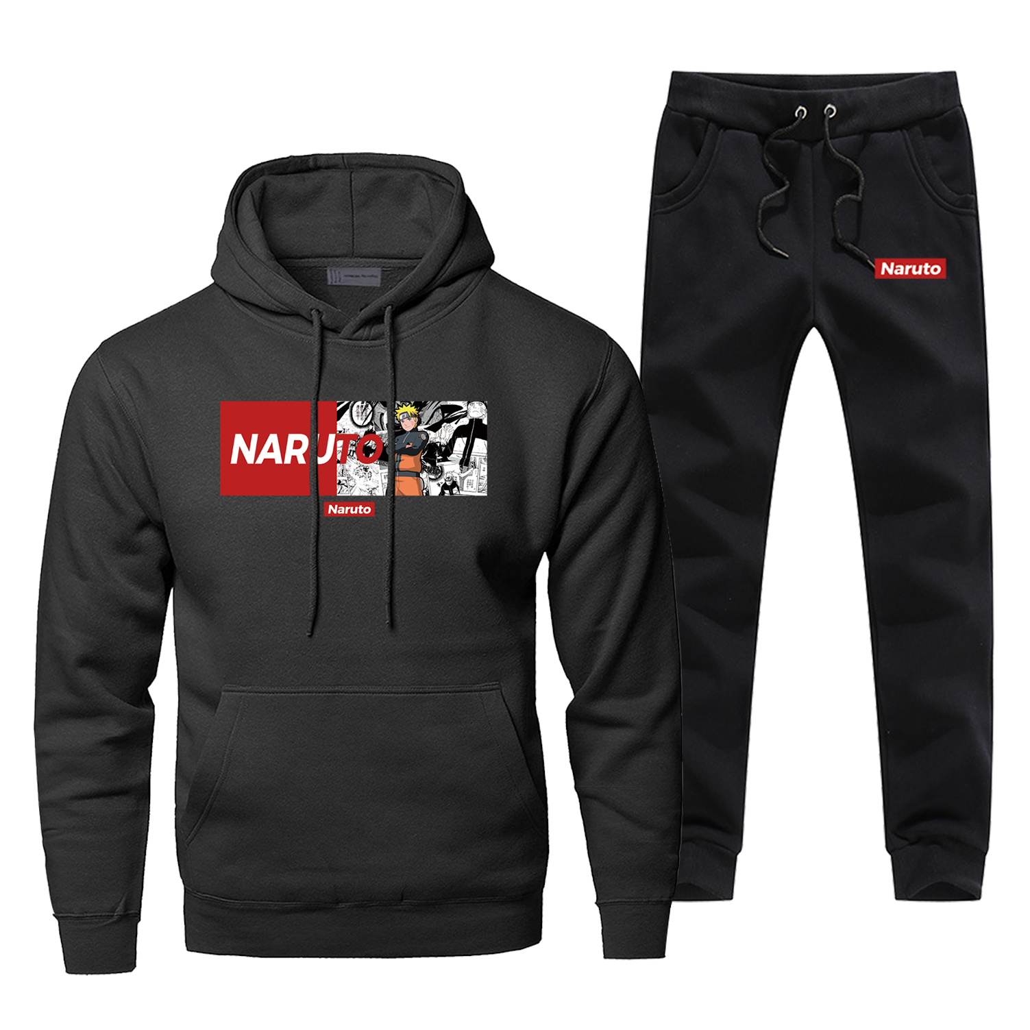 Naruto Japan Anime Hoodie Pants Set Men Sweatshirt Harajuku Male Hoodies Sweatshirts Mens Sets Two Piece Pant Pullover Hood Coat