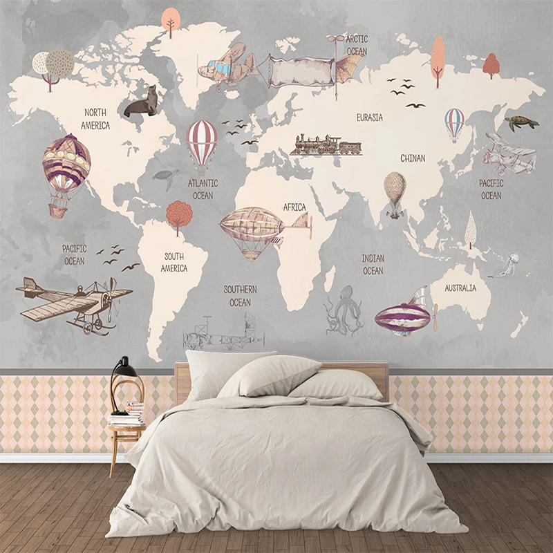 Custom Retro World Map Large Mural Hand Painted Airplane Hot Air Balloon Children Room Boys Room Bedroom Photo Wallpaper Decor image