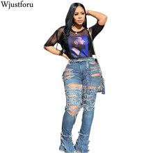 Wjustforu, сексуальные рваные джинсы для женщин, индивидуальная высокая талия, Holw, джинсовые штаны, Femme, бодикон, Клубные, узкие брюки, Vestido