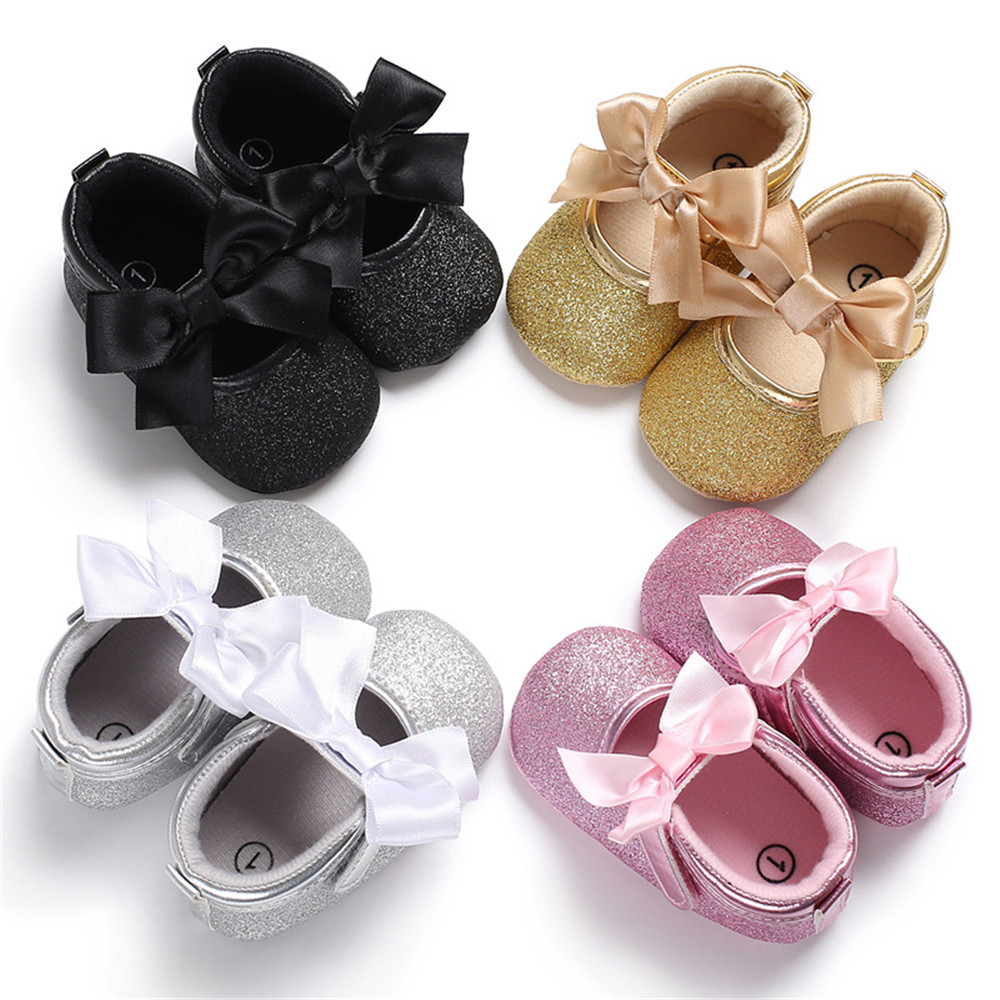 First WalkersToddler Kids Baby Girls PU Princess Bow Loving Heart Shoes Crib Sole Sneaker 0-18M Drop Shipping