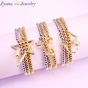 Image 2 - 5PCS, CZ micro pave connector clasp with round copper beads chain bracelets