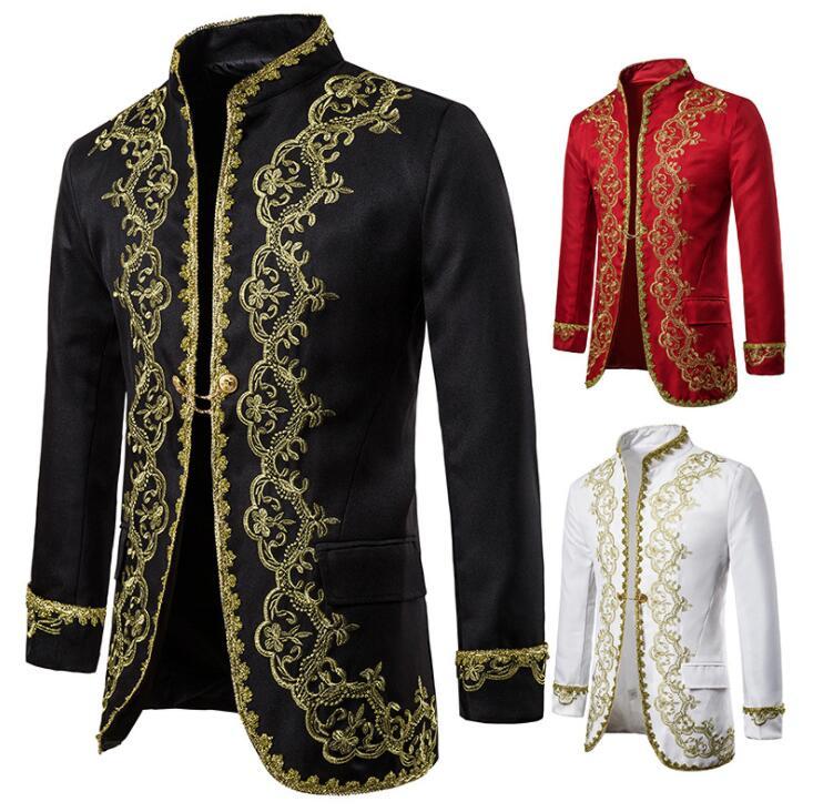 Setting Gold Palace Blazer Men Suit Man Suit Slim Fit Singer Stage Clothing Mens Formal Dress European Style Black Red White