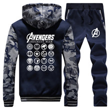 The Avengers Jacket Pants Superhero Iron Man Captain America Thor Hulk Black Widow Winter Men Hoodies Track Suit Coat Streetwear(China)