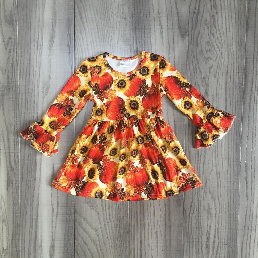 Girls Dress Pumpkin-Print Fall Ruffled-Sleeve Orange Kids Children with Long