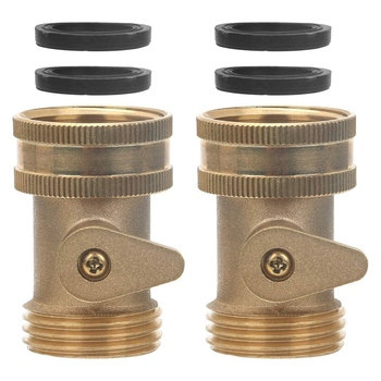 3/4 Inch Solid Brass Shut Off Valve Garden Hose Connector, 2 Pack Heavy Duty Water Turn Ball Adapter Fittings wit