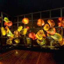 Halloween Decor Yellow Orange Hand Blow Glass Wall Art Made Blown Plates for Hotel Decoration