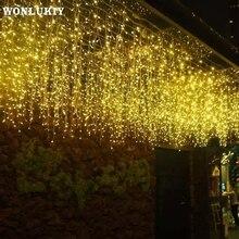 Guirnalda de cartíano de cortina para exteriores, 3,5 M, Droop, 0,3 0,5 m, cadena de luces LED resistente al agua para Año Nuevo, decoración navideña para el hogar con enchufe europeo