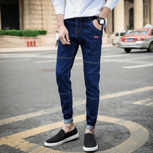 Men Pencil Pants Full Length Solid Slim Washed Feet Slim Denim Black Pant Joggers Elastic Waist Pants New Fashion Sportswear недорого