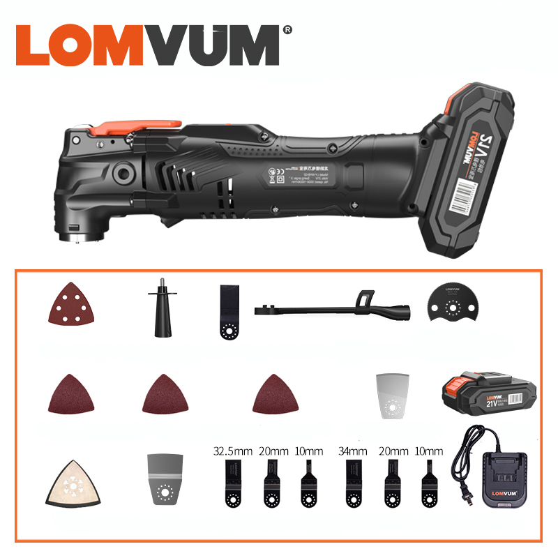 LOMVUM 21V Cordless Renovator Oscillating Woodworking Power Tools  DIY Home 6 Variable Speed Multi Cutter Electric Trimmer Blade
