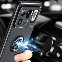 Car Magnetic magnet Case For Xiaomi Mi11 Mi 11 Ultra Ring Holder Finger Grip Soft TPU Cover