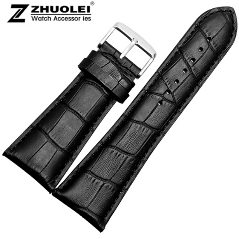 Watch Strap 23mm 24mm 26mm 28mm Big Width Black Brown Mens Alligator Genuine Leather Watch Strap Band Bracelets Free Shipping
