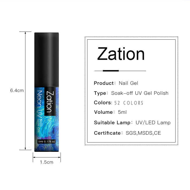 Zation Neon GEL NAIL Polish 5ML กึ่งถาวร Vernis UV Top Coat เคลือบเงาทั้งหมดสำหรับเล็บชุด HYBRID GEL เล็บ