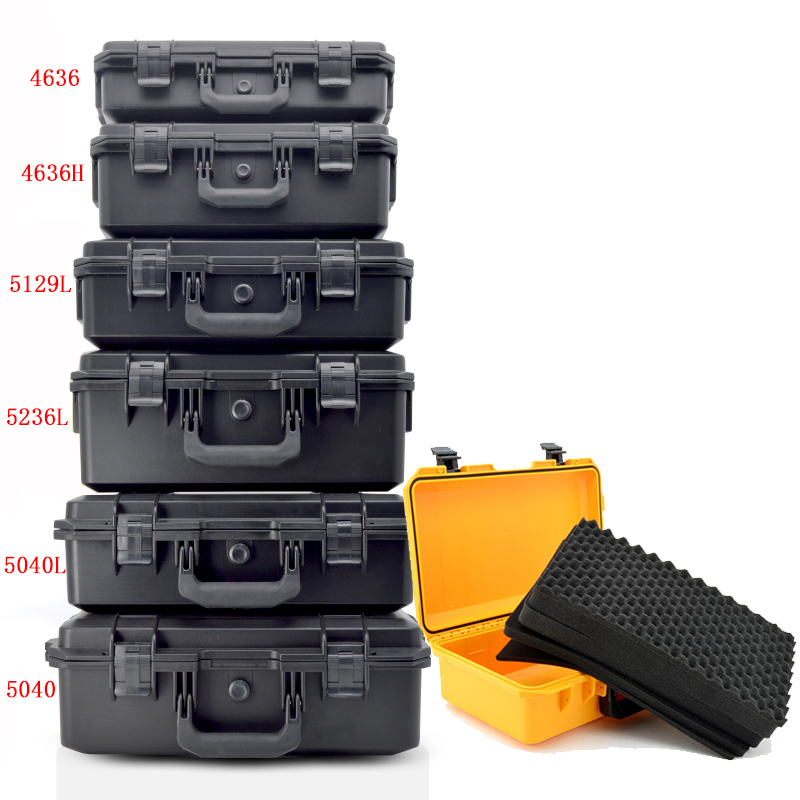Toolbox Large Multi-purpose Safety Instrument Box Waterproof Shockproof Outdoor Equipment Tool Case With Pre-cut Foam Lining