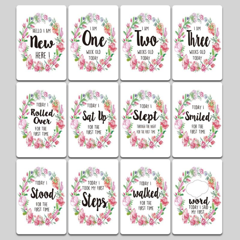 1-12 Months Baby Milestone Photo Cards Moment Photo Cards Age Markers & Unique Firsts Baby Shower Gift Set