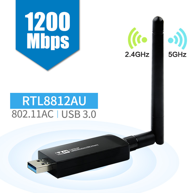 Dual Band 1200Mbps Wireless USB 3.0 RTL8812AU Card Wifi Wlan Adapter Dongle 802.11ac With Antenna For Desktop Laptop PC(China)