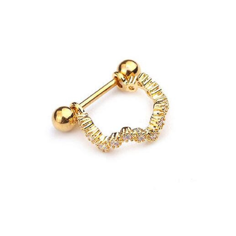 1pc Stainless Steel Barbell With Cz Hoop Cartilage Helix Lobe Earring Ear Piercing Jewelry