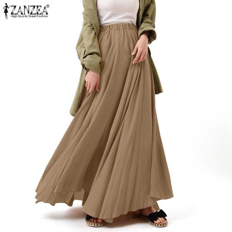 112021 ZANZEA élégant élastique Wasit Sundress femmes printemps Maxi jupes décontracté solide Vestidos femme Faldas Saia surdimensionné Robe