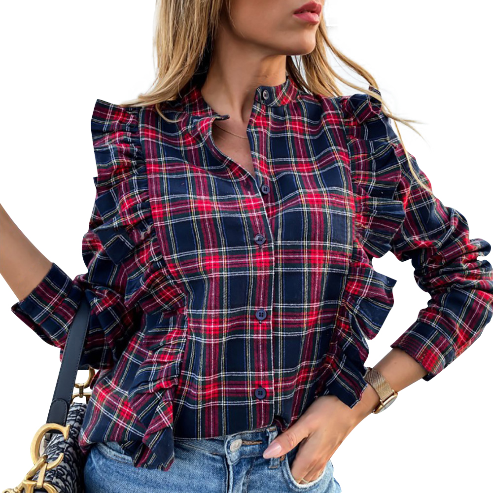 Spring Plaid Printed Blouse Casual Ruffle Long Sleeve Shirts Blouses Button Vintage Ladies Tops Blusas Mujer Roupa Feminina D30