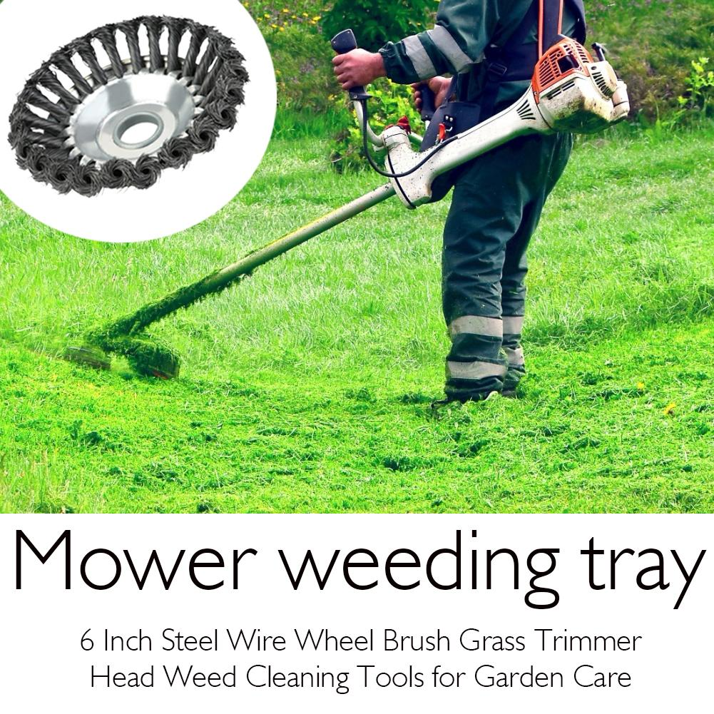 High Quality Steel Wire Wheel Brush Grass Trimmer Head Weed Cleaning Tools Lawn Mower Grass Cutter For Garden Lawn Care