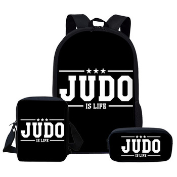 Letters i love judo Printing 3-piece set School Bags Set Custom pattern Backpacks for Junior Students Satchel Backpack Schoolbag