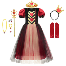 VOGUEON New Princess Girls Dress Queen of Red Hearts Cosplay Costume Kids For Birthday Party Witch Children Clothing 3-8 Years