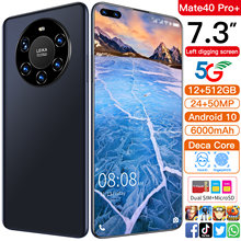 Global Version Mate40pro+ 7.3 Inch Smartphone Face ID Mobile Phone MTK6889 Andriod 10.0Double SIM Card Cellphone
