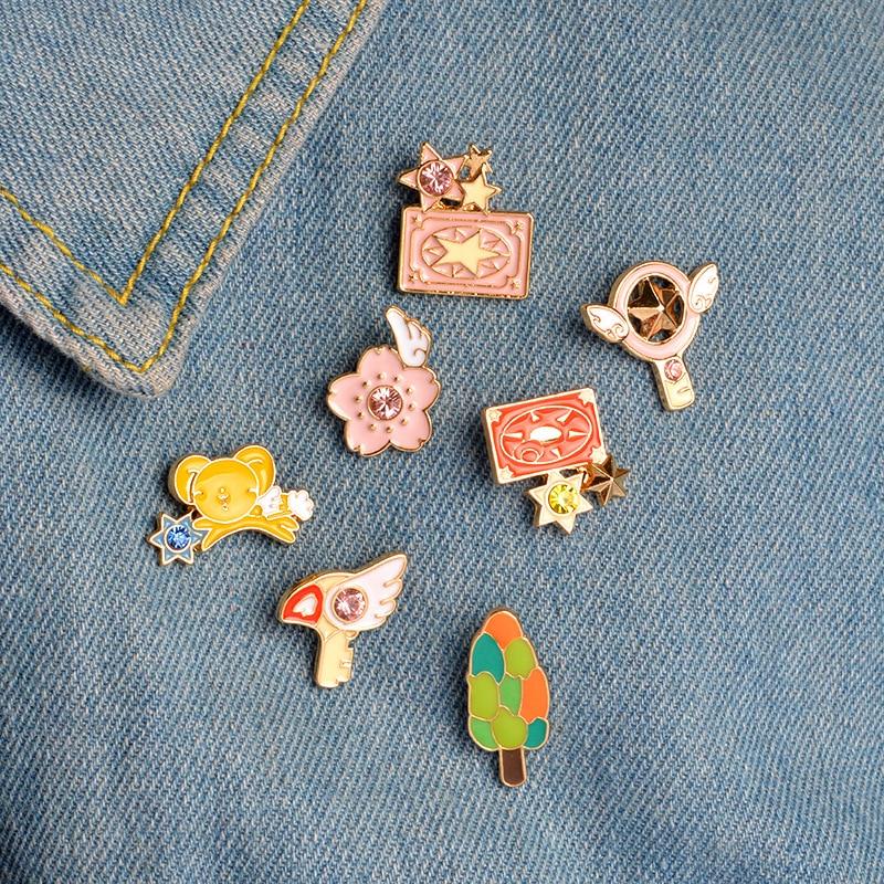 6pcs/set Cute Pink Card Captor Sakura Kero Sword Kinomoto Star Wand Key Enamel Pin Lapel Pin Badge Japanese Anime Collection