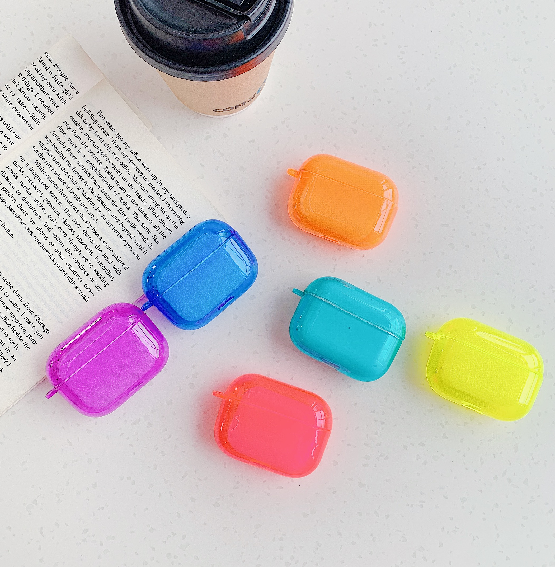 For Airpods Pro Case Neon Candy Fluorescence Soft TPU Clear Cute Cover For Airpods Pro Air Pods 2 Transparent Silicone Cases
