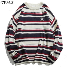 ICPANS Striped Embroidered Couple Women Men Pullovers Sweaters Kintting Loose Literary Korean Sweater Male 2019 Autumn