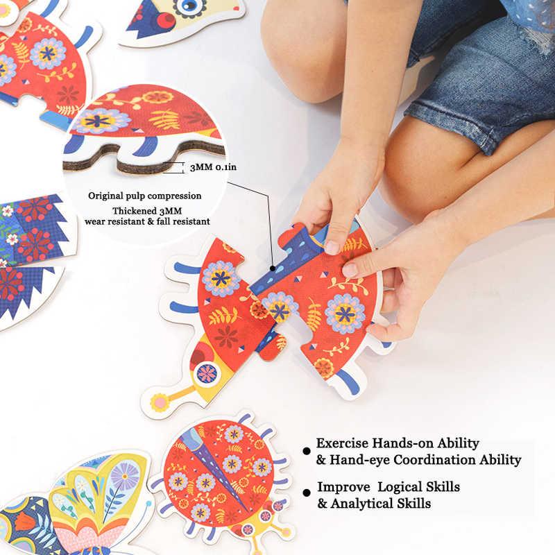 Mideer 32 шт. Пазлы 6-в-1 сад животных для детей от двух до восьми 3D большой пазл более 2Y раннего образования Познавательная головоломка подарки на день рождения