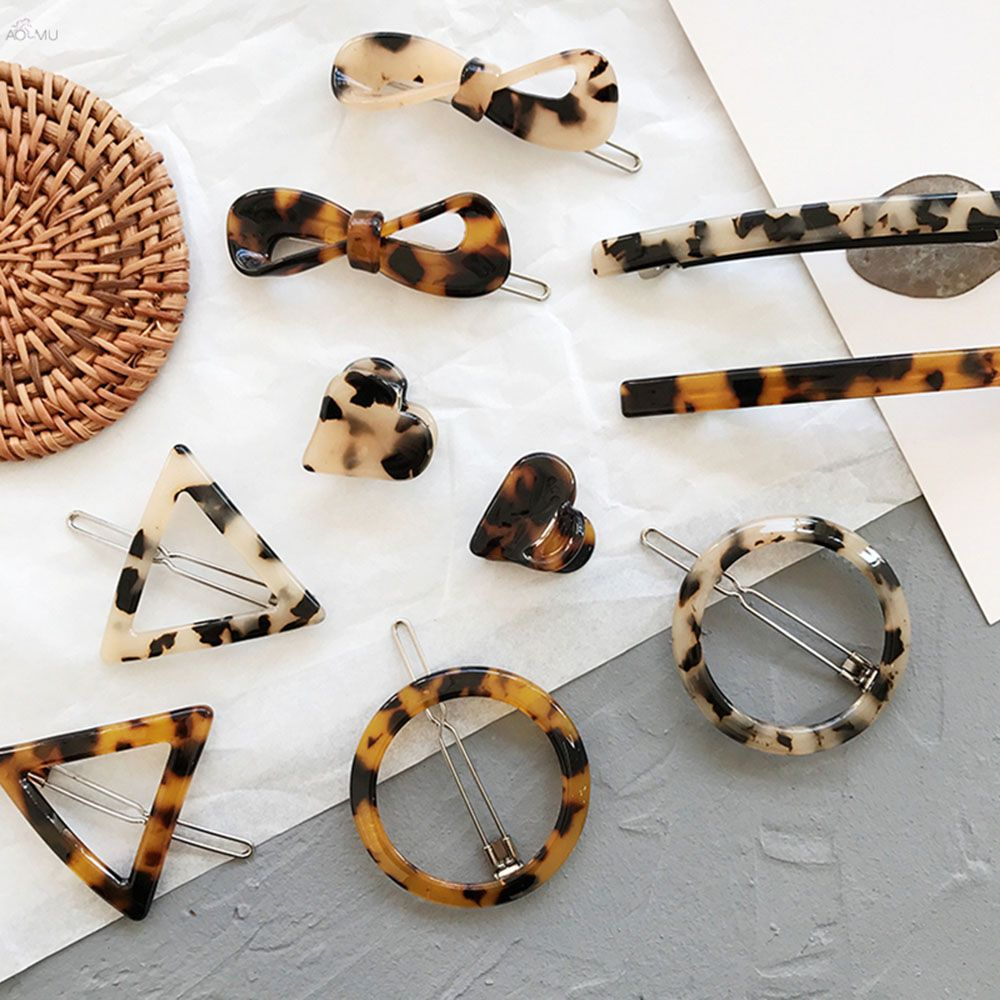 Korean Style Amber Leopard Heart Shape Acrylic Hair Clips Geometric Round Triangle Hairpin Women Girls Hair Acccessories