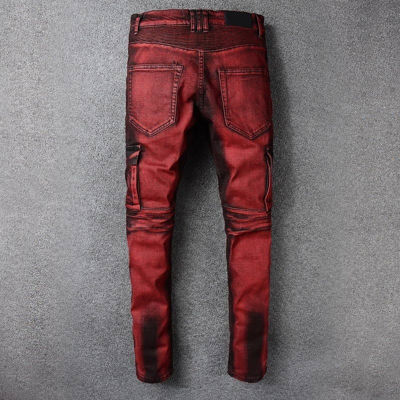 2020 New Mens Punk Retro Red Jeans Hole Ripped Denim Cargo Trousers Plus Size Slim Fit Motorcycle Jeans Pocket Long Pencil Pants