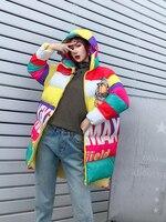 Winter Ms. Cotton Jacket Cartoon Hooded Jacket Women's Winter Wear Korean Thicken Warm Print Medium Long Down Cotton Jacket